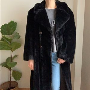 Vtg Faux Fur Black Sirbain Collection Montreal XXL